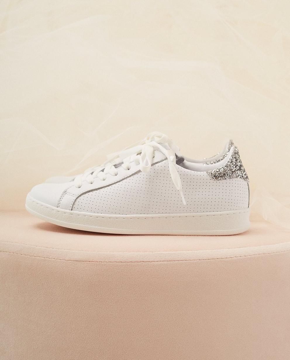 Weiße Sneaker, Größe 30-37 - mit silbernem Glitzer - Milla Star